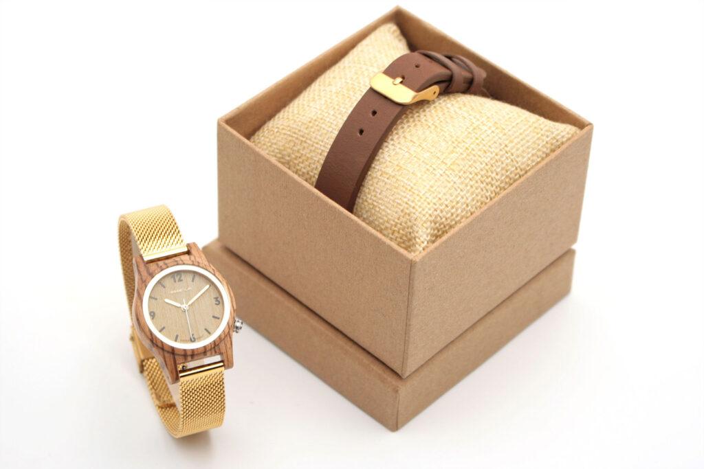 Coffret montre femme bois doré